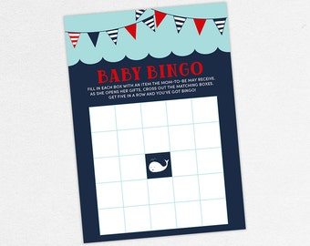 INSTANT DOWNLOAD Baby Bingo Card, Baby Shower Bingo, Baby Bingo PDF, Diy, Baby Shower Games, Nautical Shower, Whale Shower, Red, Navy, Ahoy