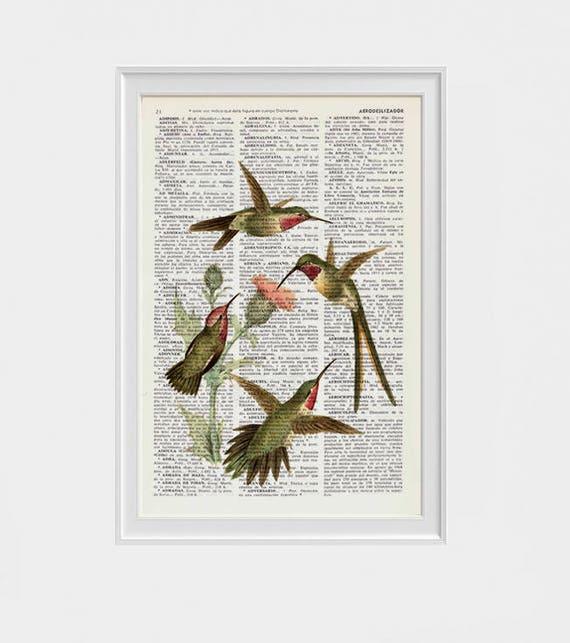 Hummingbirds on cardoon flowers Print on Dictionary page Art, Hummingbird illustration Upcycled book Perfect giclee ANI250