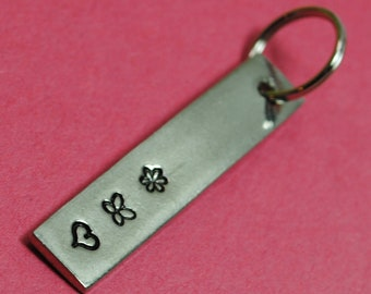 Triple Design Pewter Tag - Keychain Accessory