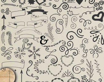 71 Vector digital elements , hand drawn doodle clip art Hand Drawn Wedding ClipArt graphic design resource instant download Buy 2 Get 1 FREE
