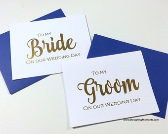 Gold Foil to My Bride and Groom Wedding Day Card - Bride and Groom - Gold Foil Wedding Day Card - Husband and Wife Cards - Wedding DM136