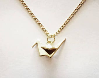 Origami Crane Bird Pendant Necklace. 20 Inches, Gold Plated.