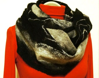Handmade, Felted scarf, Collars for woman, Wool scarf, Felted wool, Scarf for women, Infinity scarf, Merino wool, Cowl, Shawl, Gift for her
