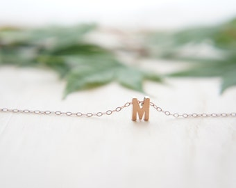 "Rose Gold Letter, Alphabet, Initial  capital ""M"" necklace, birthday gift, lucky charm, layered necklace"