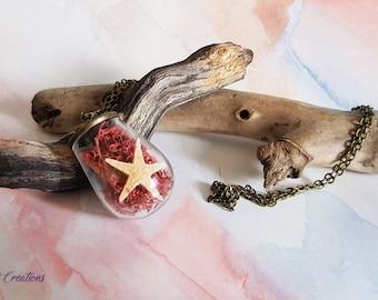 Terrarium vial pendant, Moss, reindeer, starfish, shell, pink