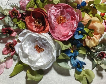 Charming Cluster Silk Ribbon Embroidered Picture