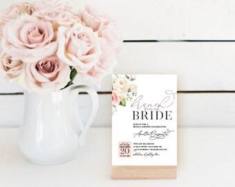 Brunch Bridal Shower Invitation - Brunch with the Bride - Blush Floral - Faux Rose Gold Foil Effect - Blush Invitation Printable