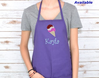 Personalized Kids Apron with Ice Cream Cone Embroidery Design