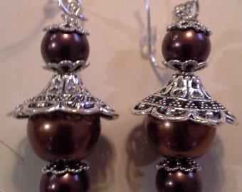 Glass Pearl Earrings E - 207