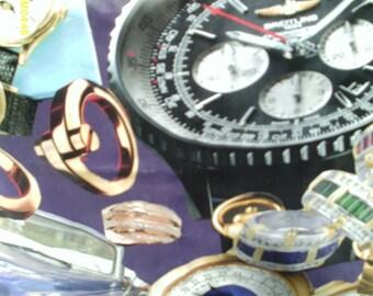 purple decoupage wastebasket