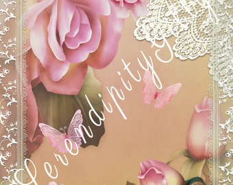 Beautiful Rose and Lace Collage.  8.5 x 11 inches. (DOWNLOAD)