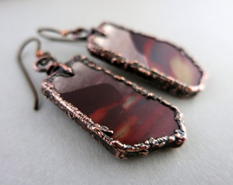 Mookaite Jasper Earrings, Desert Sunset, Australian Stone, Electroformed Copper, Niobium Earwires