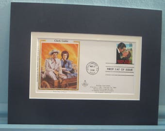 """Clark Gable & Vivien Leigh in """"Gone With the Wind"""" by Margaret Mitchell and  the First Day Cover of the stamp issued to honor the film"""