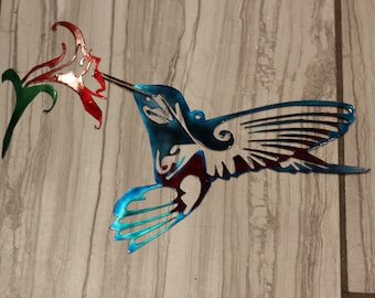 Metal Hummingbird, Hummingbird, Metal wall art, Metal wall decor, Metal wall hanging, Yard art, Hummingbird art, Garden decor, Bird decor
