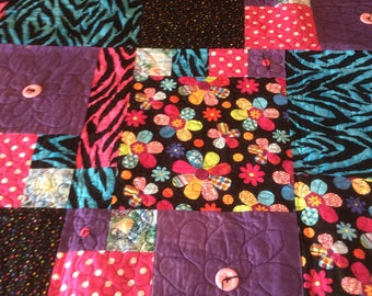 REDUCED PRICE SALE Flower Orig 65 Now 48  power Quilt, 70's Quilt, neon colors quilt, funky quilt, girl quilt ,flower quilt, polka dot quilt