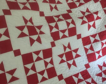 Quilt Ohio Star Red and White Reverse Color Blocks Queen  Ready to Ship