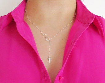 Simple Cross Necklace, Tiny Cross and Infinity Necklace, Cross and Infinity Lariat, Sterling Silver