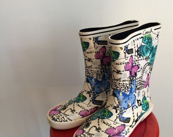 Coach Boots Butterfly Boots Colorful Rain Boots Garden Boots with Butterflies These Boots Are Made for Walking 7B Boots April Showers