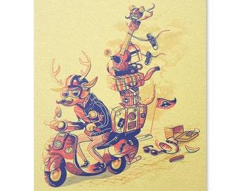 Deer Art Print / Vespa Print / Travel Print / Animal Wall Art / Vacation Print / Home Decor / 8 x 10