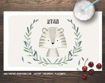 TIGER Personalized Placemat for Kids - Children's Placemat, Personalized Kid's Gift, Fast Shipping - leaves, woodland animals