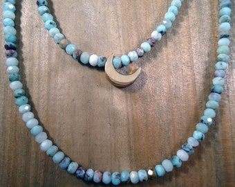Larimar and Moon Multi-Strand Necklace