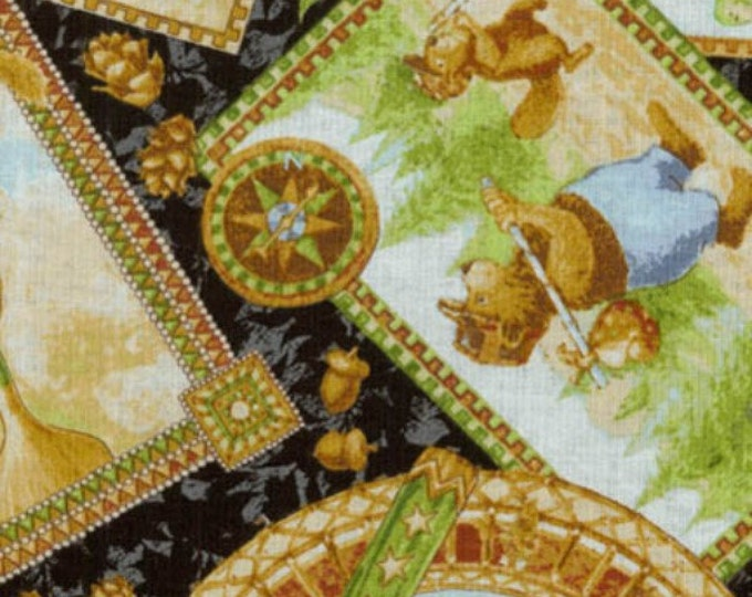 Children's Fabric Ramblin Woods by Jacqueline Decker for RJR Fabrics Multi-Animals Tossed Cotton Fabric