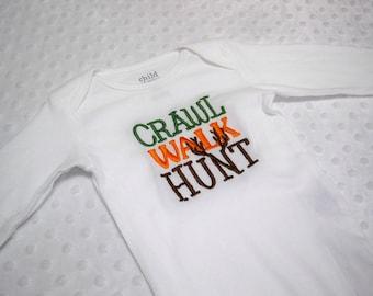 Crawl Walk Hunt Baby Boy Hunting Bodysuit Perfect for Daddy's Little Hunter - Baby Boy Hunting Bodysuit - Baby Boy Camo Bodysuit