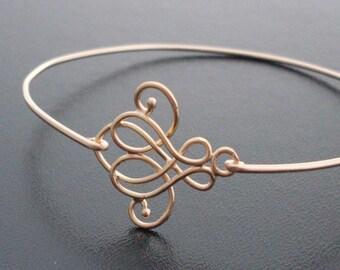 Swirl Bangle Bracelet Emma  - Gold, Swirl Bracelet, Swirl Jewelry, Lace Bracelet, Lace Fashion, French Fashion, Paris Fashion, Lace Jewelry