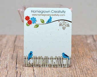 Picket Fence Blue Birds Personalized Earring Cards Jewelry Display Packaging Custom | DS0028