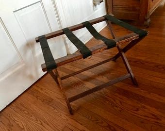 Vintage Oak Folding Luggage Suitcase Rack or Holder from Old Motel