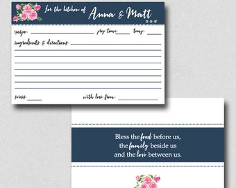 Printable Recipe Card, Bridal Shower Recipe Card, Navy and Pink Recipe Card, Personalized Recipe Card