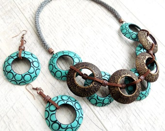 Bib necklace statement Chunky beaded necklace Polymer clay bijoux Bohemian jewelry Unusual jewelry set Drop earrings Unique necklace