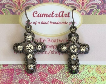 Trendy Gunmetal Filligree Cross Earrings encrusted with Cubic Zirconia
