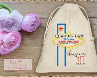 Las Vegas  Hangover Kit  Bachelorette Party  Muslin  Bag - Custom Mini Favor bag - Bridal shower bag-Recovery kit