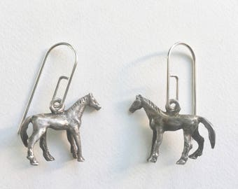 upcycled vintage horse earrings, sterling