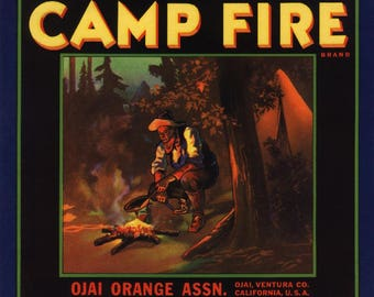Ojai, California - Camp Fire Brand - Vintage Label (Art Print - Multiple Sizes Available)
