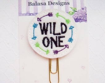Wild One Planner Clip, Bookmark, Planner Accessory, Paper Clip