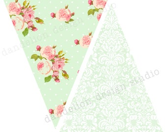 PRINTABLE Pennant Banner - Shabby Chic Party Collection - Dandelion Design Studio