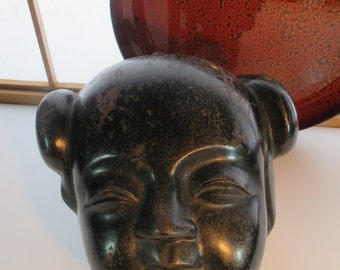 YOUNG GIRL MASK Antique Bronze
