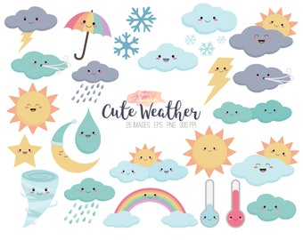 Kawaii clipart etsy buy 2 get 1 free cute weather clipart kawaii weather clip art illustration voltagebd Image collections