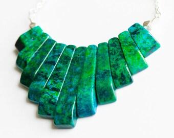Chrysocolla Necklace,Gemstone bib necklace,Silver Chrysocolla Necklace,Bridal Jewelry,Chrysocolla Jewelry,Green Blue gemstone necklace,OOAK