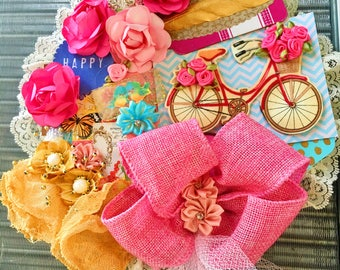 Pink Bow and a Bike. Altered Embroidery Hoop. Gold Feather Flowers Satin Bow