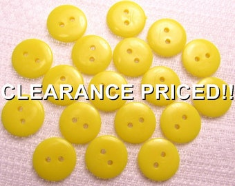 """CLEARANCE! Simply Yellow: 5/8"""" (15mm) Lemon Yellow Reversible Buttons - Set of 18 New / Unused Matching Buttons"""
