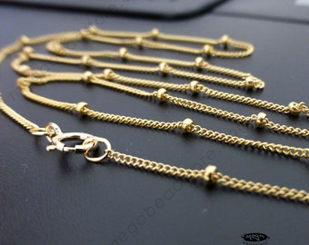 16 18 20 24 30 inch Satellite Chain (with 1.9mm bead) Necklace 14/20 Gold Filled- FC25GF- 1 pc