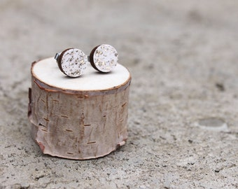 Gold Sparkle Geometric Wood Earrings // Gold Earrings // Wood Earrings // Circle Earrings // Glitter Studs