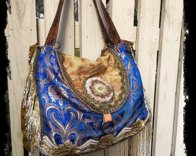 Reserved for Jennifer - Bohemian Pandora Treasure Bag, Hobo Shoulder Slouch Bag, Exotic Cross Body Tote, Large Purse with Leather Accents