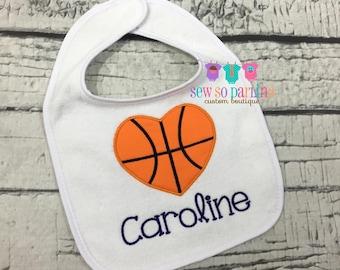 Basketball bib etsy baby girl basketball bib i love basketball bib girl basketball gift personalized baby negle Choice Image