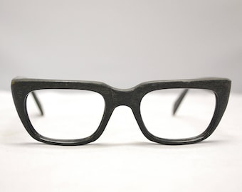 Vintage 1950's Textured Woodgrain Horn Rim Eyeglasses / Retro Collectable Rare / #1426