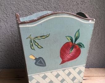 Wood Waste Paper Basket Bin Garbage Trash Can Wooden Hand Painted Garden Vegetables Vintage - #A1584