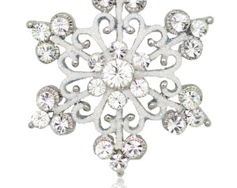 Silver-tone Swarovski Element Crystals Scroll Snowflake Pin Brooch